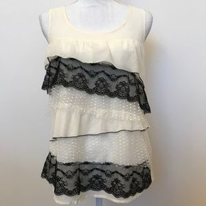 LOFT Cream Tiered Lace Tank Top Size Small